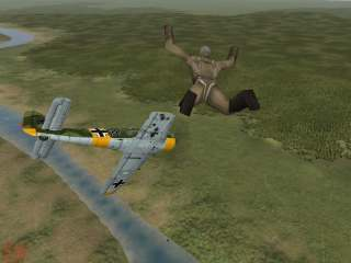 Pilot bailing out of a stricken Bf109