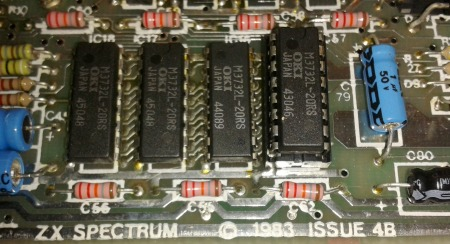 Issue 4B Spectrum motherboard with socketed RAM chip