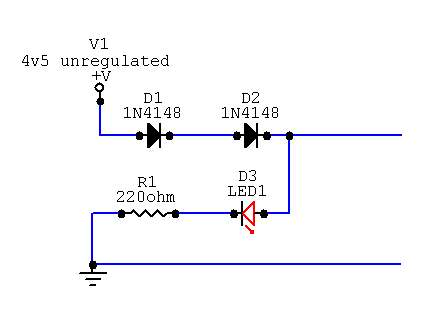 Circuit diagram for 3v6 from 4v5 unregulated PSU