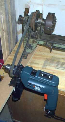 Powering lathe with electric drill