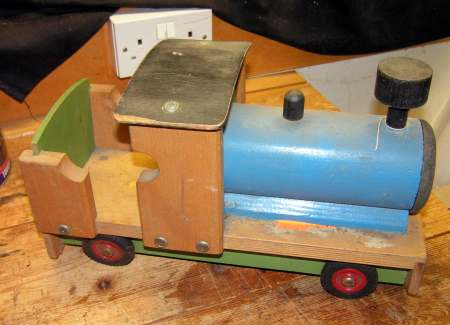 Toy train before restoration