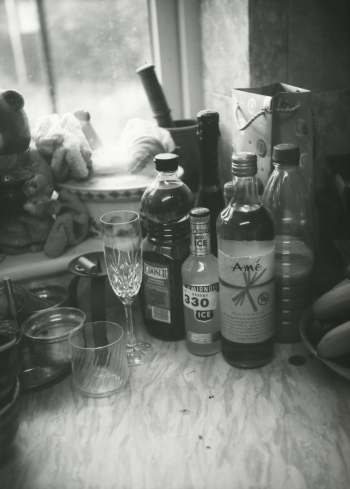 Still life picture of bottles in the Kitchen