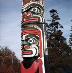 Totem pole at local beauty spot