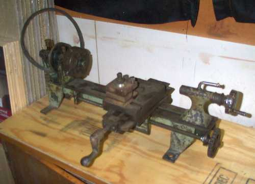 Old lathe previously used for metalworking