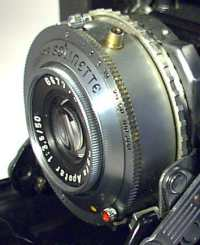Closeup of lens/shutter of Agfa Solinette II